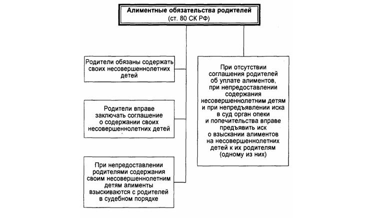Схема алиментных обязательств родителей