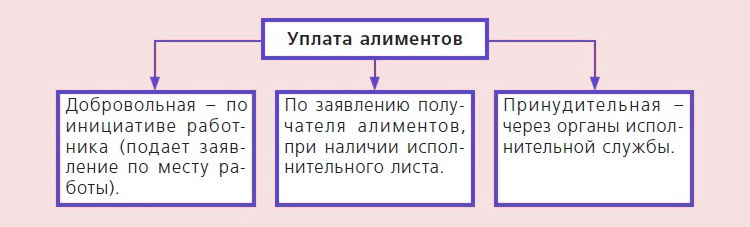 Схема уплаты алиментов